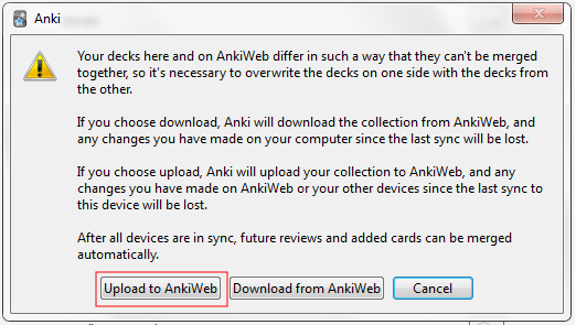 How do I solve the merging conflict when I sync Anki with